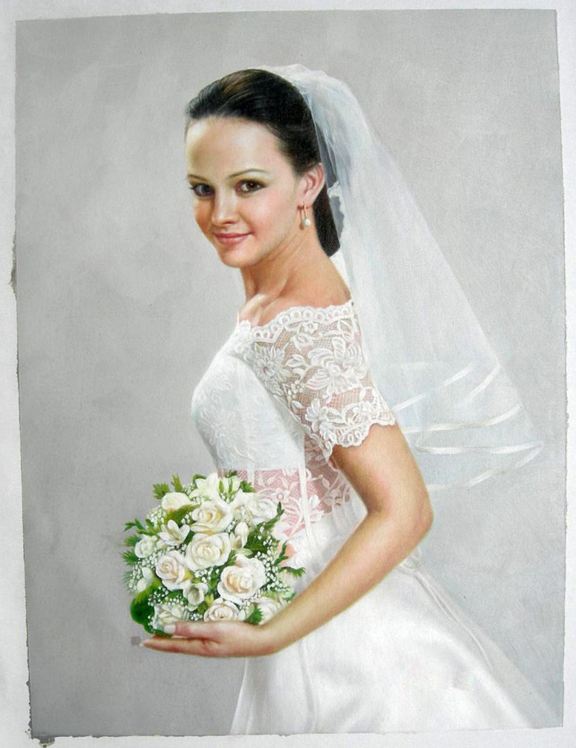 Bridal oil portrait of a bride wearing a beautiful wedding dress
